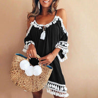 Bohemian Patchwork Tassel Lace Beach Dress - The Urban Doll