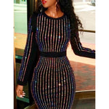 Striped Crystal Long Sleeve Sheath Dress