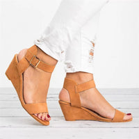 Buckle Strap Casual Wedge Sandals (5 Colors) - The Urban Doll