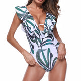 Palm Ruffle Tie Back One Piece Swimsuit - The Urban Doll