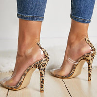 Barely There Clear Leopard High Heels - The Urban Doll