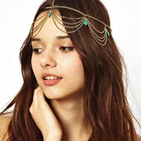 Teardrop Turquoise and Chain Headband