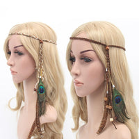 Bohemian Braided Peacock Feather Headband - The Urban Doll