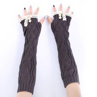 Button Lace Long Knitted Fingerless Gloves (7 Colors) - The Urban Doll