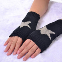 Star Knit Fingerless Gloves (5 Colors)