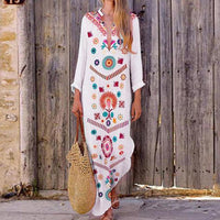 Colorful Boho Long Sleeve Kaftan - The Urban Doll