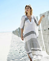 White Striped Beach Kaftan