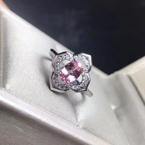 Natural Pink Tourmaline 925 Sterling Silver Ring - The Urban Doll