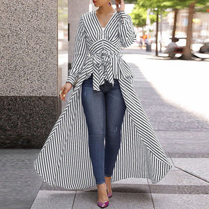 Irregular Stripe Swallowtail Shirt (3 Colors)