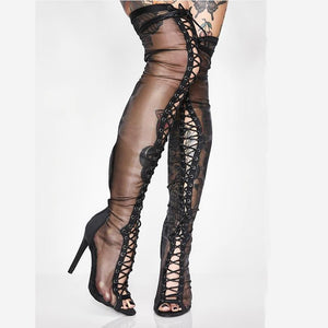 Black Mesh Thigh High Lace Up Boots - The Urban Doll