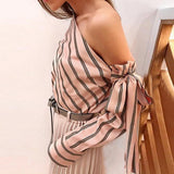 Striped One Shoulder Bow Tie Blouse (2 Colors) - The Urban Doll
