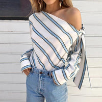 Striped One Shoulder Bow Tie Blouse (2 Colors)
