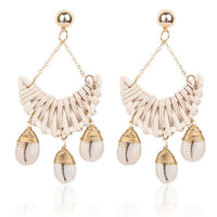 Crescent Rattan Bohemian Sea Shell Earrings (2 Colors) - The Urban Doll