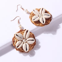 Sea Shell and Rattan Drop Earrings