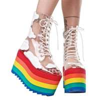 Rainbow Cloud Transparent Platform Shoes
