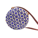 blue straw bali bags round