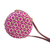 pink straw bali bags
