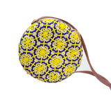 yellow rattan bali purse