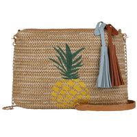 Pineapple Print Woven Straw Shoulder Bag - The Urban Doll