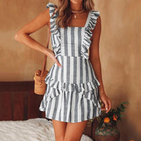 Striped Ruffle Sleeveless Mini Dress