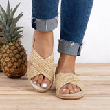 Braided Cross Strap Flat Espadrille Sandals (2 Colors) - The Urban Doll