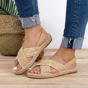 Braided Cross Strap Flat Espadrille Sandals (2 Colors)