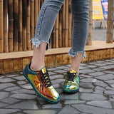 Patchwork Reflective Glitter Sneakers (4 Colors) - The Urban Doll