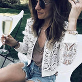 White Lace Tassel Cropped Jacket