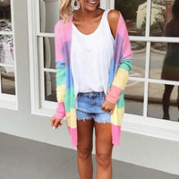 Pastel Rainbow Striped Knitted Cardigan - The Urban Doll