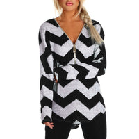 Zipper V-Neck Two Tone Chevron Knit Top