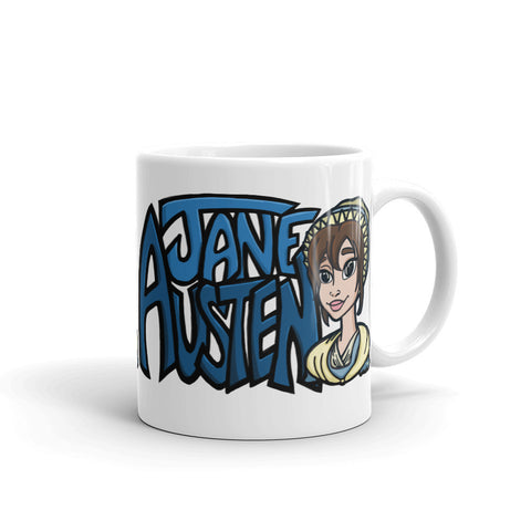 Jane Austen Cartoon in Blue - White Coffee Mug