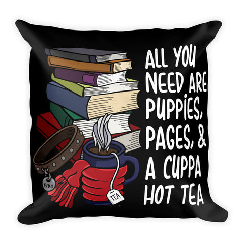 Puppies, Pages and Tea Square Black Throw Pillow