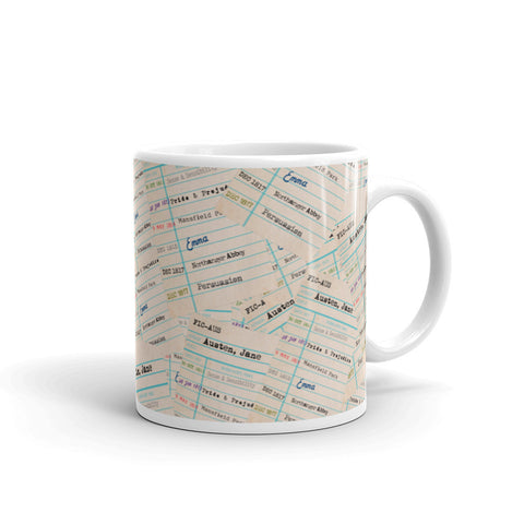 Jane Austen / Library Card / Coffee Mug / Tea / Cocoa / Hot Chocolate / Ceramic