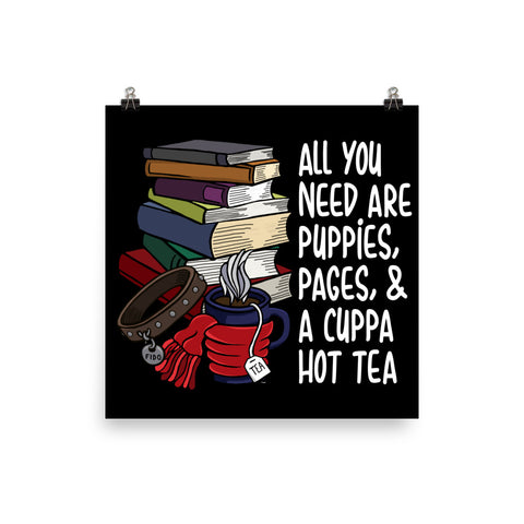 Puppies, Pages and Tea Wall Art
