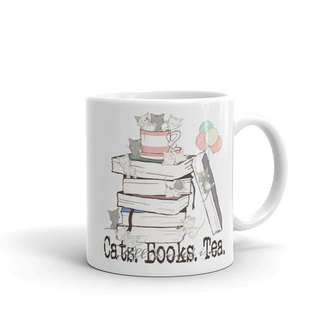 All I Need Is Cats Books & Tea White Coffee Mug