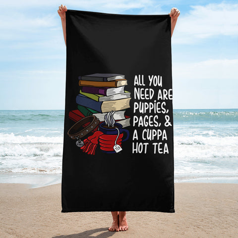 Puppies, Pages and Tea Black Beach Towel