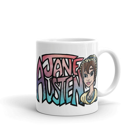 Jane Austen Cartoon in Pink/Blue Ombre - White Coffee Mug
