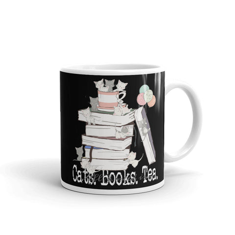 All I Need Is Cats Books & Tea Black Coffee Mug