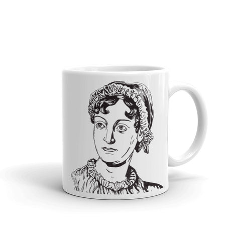 Jane Austen Illustration White Coffee Mug