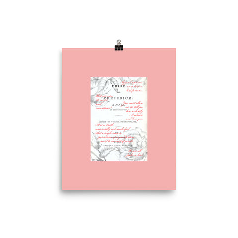 Pride and Prejudice Book Page Wall Art