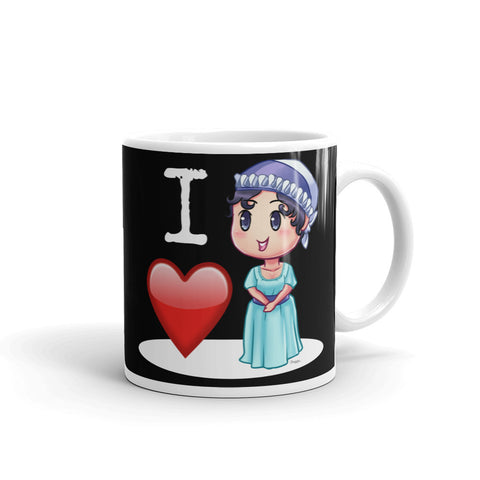 I Love Jane Austen Black Coffee Mug