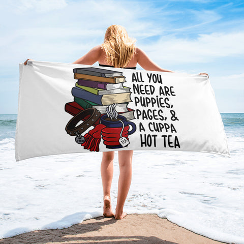 Puppies, Pages and Tea White Beach Towel