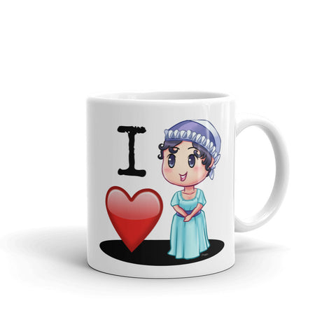 I Love Jane Austen White Coffee Mug