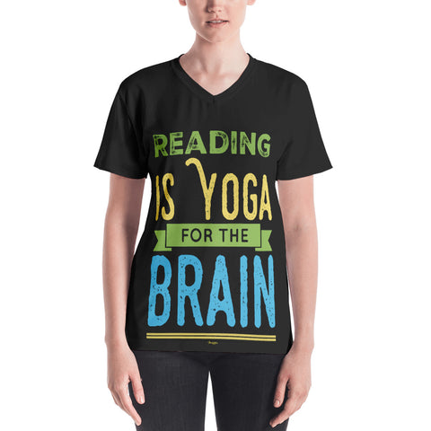 Reading Is Yoga For The Brain V-Neck Black T-Shirt