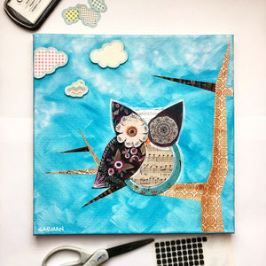 Mixed Media Owl Canvas with Clouds