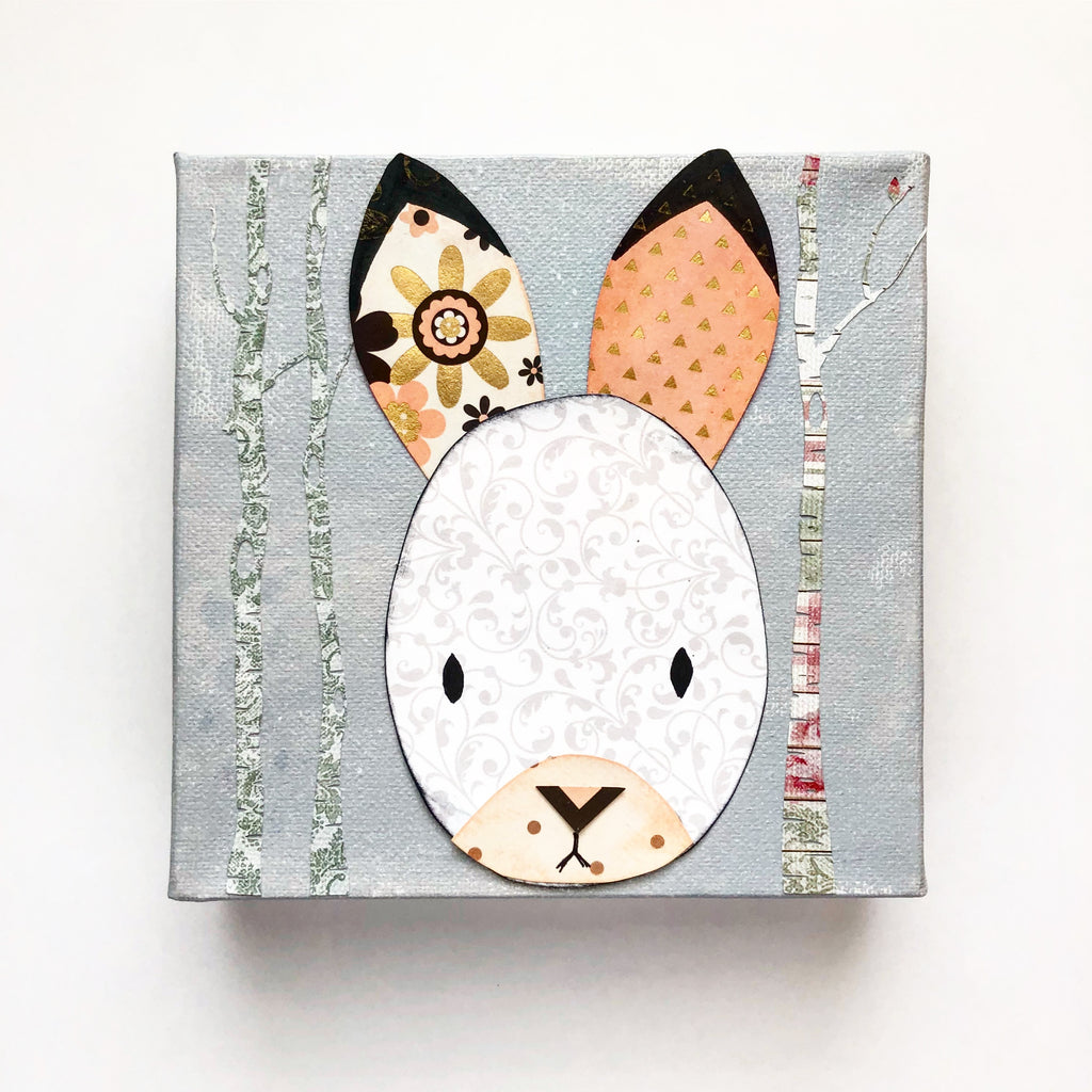 Nursery Art Bunny Mixed Media Canvas