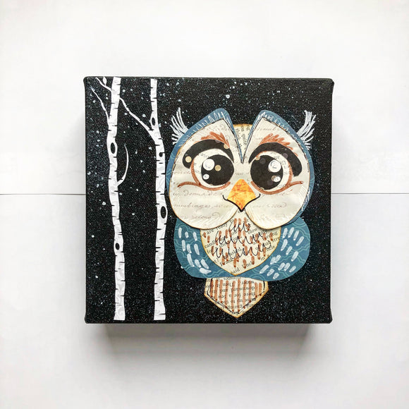 Nursery Art Owl Mixed Media Canvas