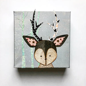 Nursery Art Deer Mixed Media Canvas
