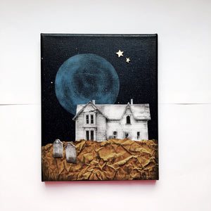 Spooky Haunted House Canvas