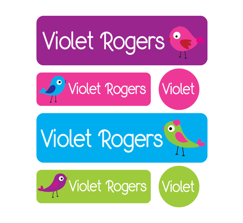 Daycare Pack - Set of 60 Waterproof Labels - Birds - MeY Decals